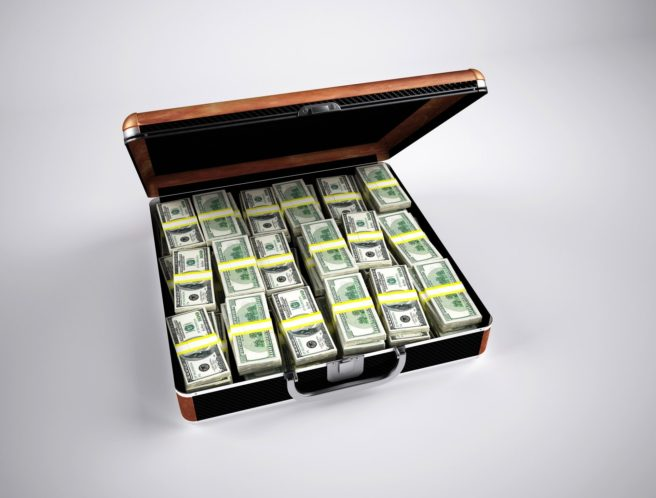A briefcase full of cash.