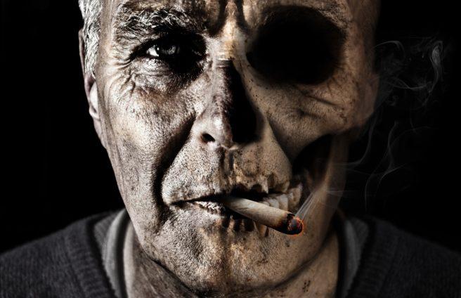 A man smoking.